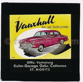 Vauxhall Collection of Glass Slides for Cinema Advertising in 1955 by Kulm Garage