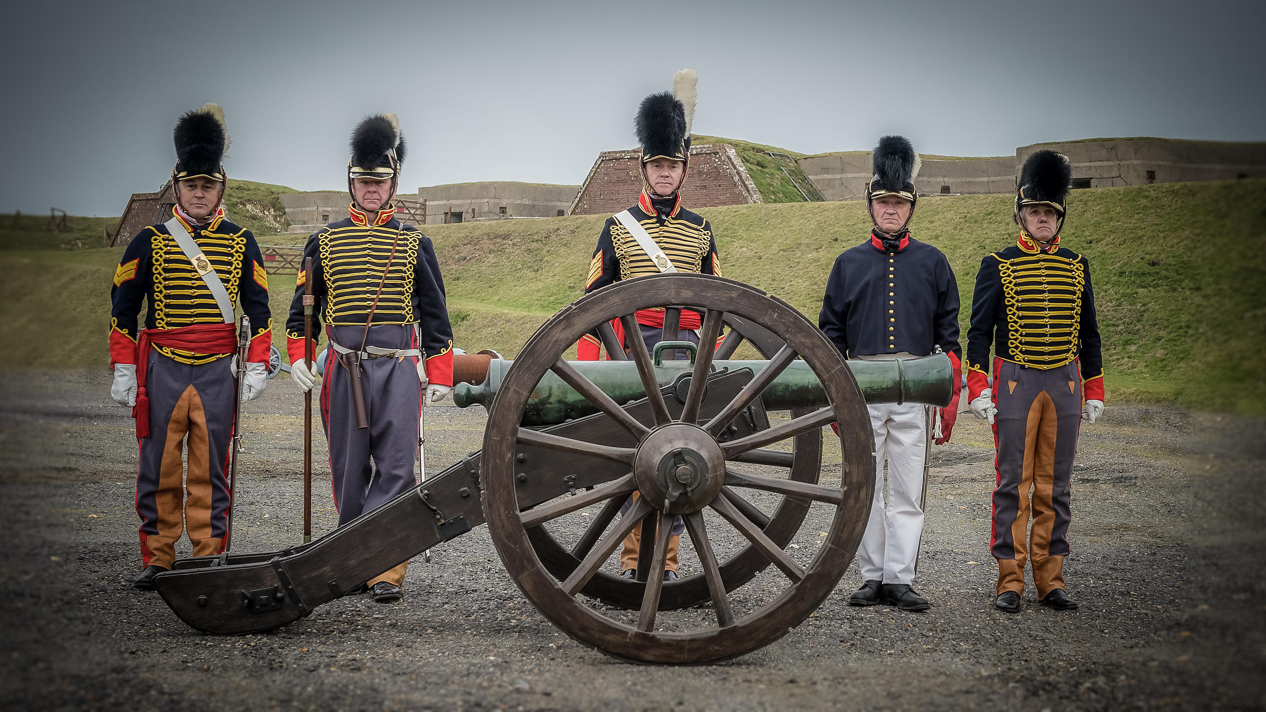 Napoleonic Battle Re-Enactors Firing Cannon at Fort Nelson, Hampshire