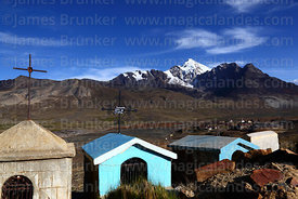 Milluni cemetery, mine and Mt Huayna Potosi in background, Cordillera Real, Bolivia