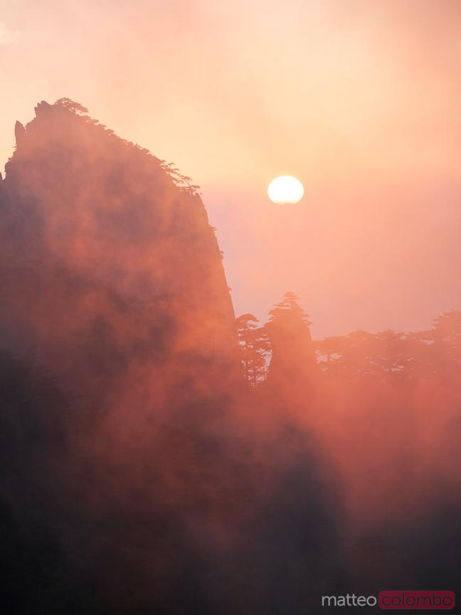 Sunset over Huangshan mountains, China