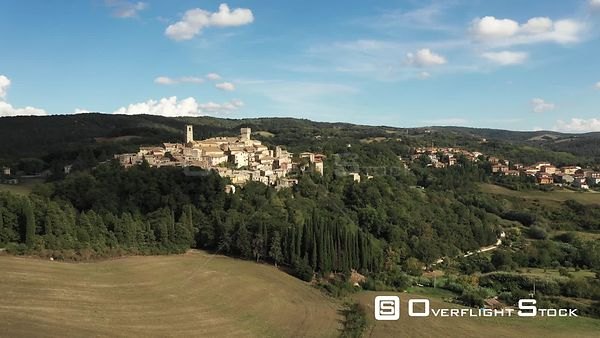 Aerial, little medieval town in Tuscany, San Casciano dei Bagni, Italy on a sunny day