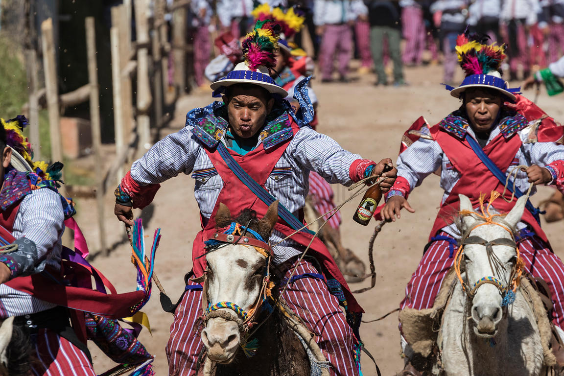 Men from Todos Santos Running a Horse Race During Day of the Dead