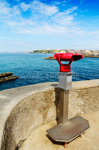 Binoculars and lighthouse of Biarritz, France