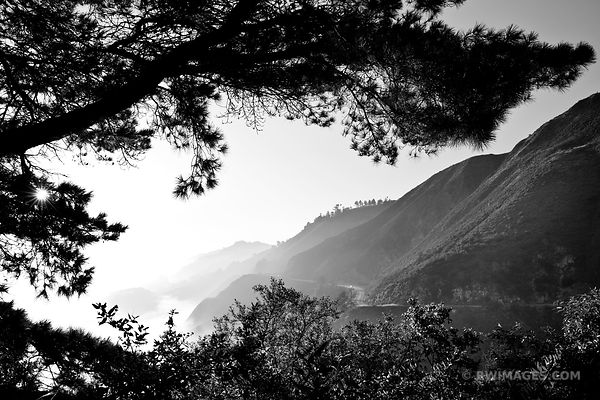 BIG SUR FOGGY PACIFIC COAST HIGHWAY 1 CALIFORNIA SUNSET BLACK AND WHITE