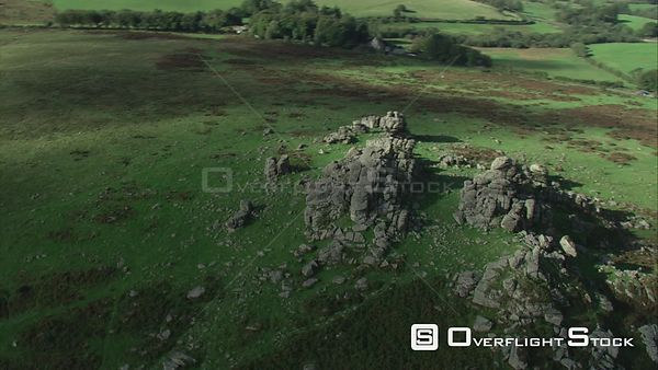 Aerial view of Hound Tor, Dartmoor National Park, Devon, England, UK, October 2015.