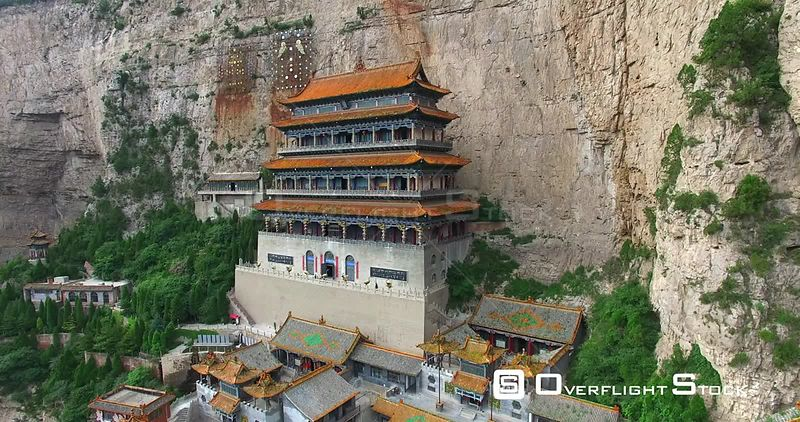Aerial View of Temple on Mianshan Mountain, Shanxi China