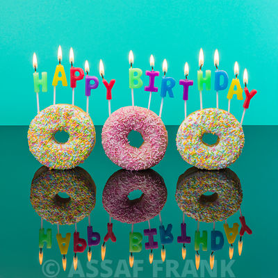 Happy Birthday Candles on Doughnuts