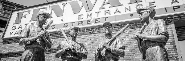 Boston Fenway Park Sign and Four Bronze Statues