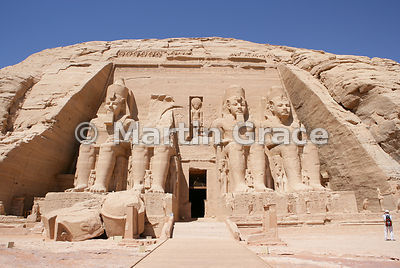 Facade of the Sun Temple at Abu Simbel, with four colossi of Ramesses II