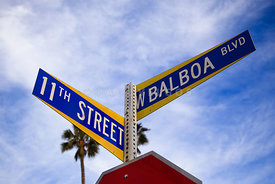 Balboa and 11th Street Sign Newport Beach Photo