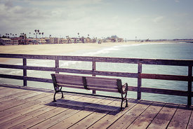 Seal Beach California Pier Bench Photo