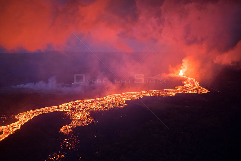 Lava originating from Kilauea Volcano, erupting from fissure 8, near Pahoa flowing in a river of lava toward, Kapoho, Puna Di...