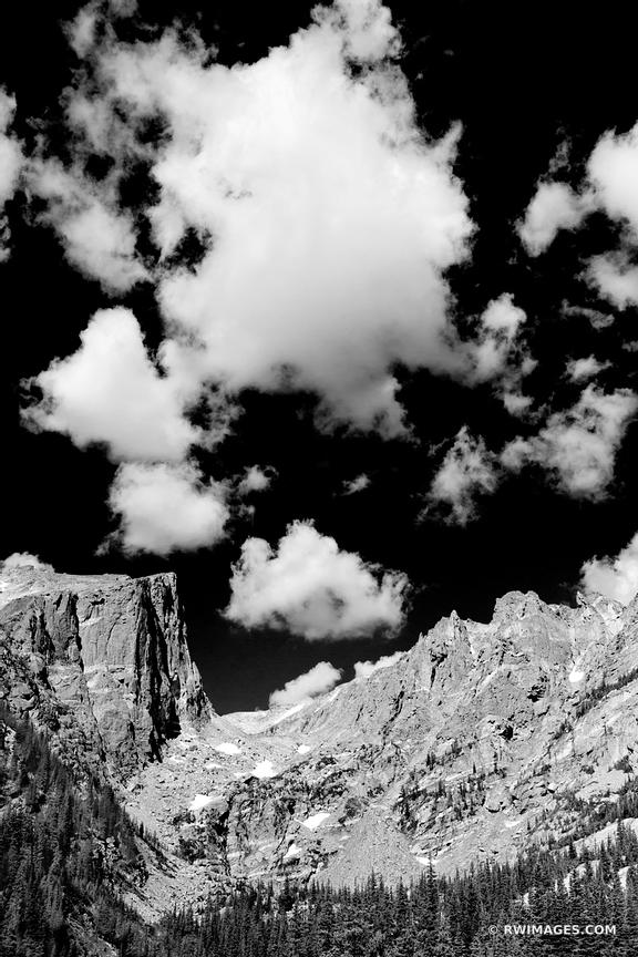 HALLET PEAK FROM DREAM LAKE ROCKY MOUNTAIN NATIONAL PARK COLORADO BLACK AND WHITE