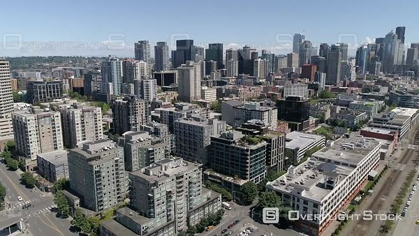Pacific Northwest Seattle Washington Drone Video of the Waterfront Downtown Cityscape
