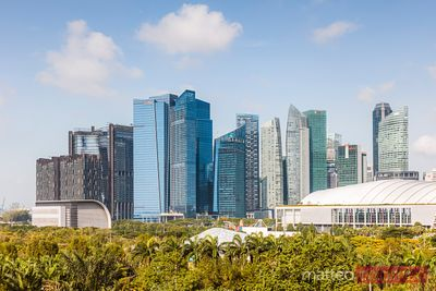 Singapore financial district from Gardens by the Bay