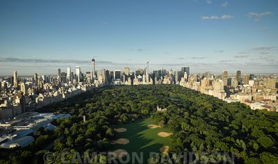 Aerial photograph of Central Park on a sunny summer morning.