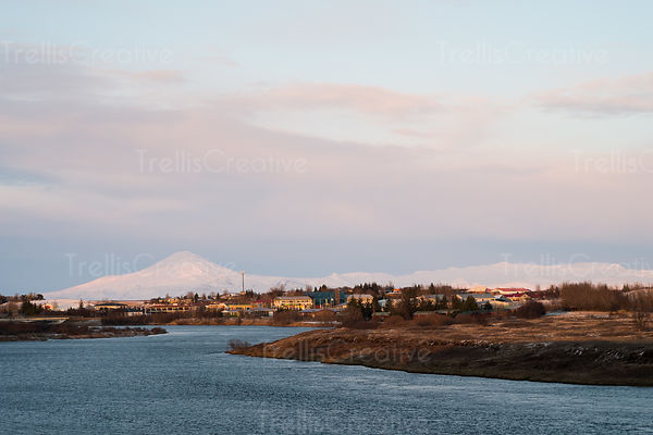 Looking across the Ranga River in Hella, Iceland at the small town