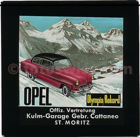 Opel Olympia / Rekord 1957 Collection of Glass Slides for Cinema Advertising by Kulm Garage