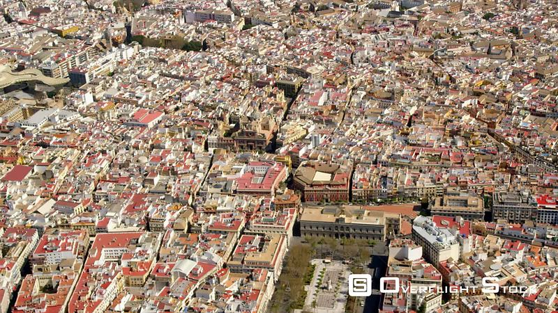 Aerial View of the Historic Center of Seville With in Order of Appearance Plaza Nueva, Cathedral and Giralda Belfry, Archivos...