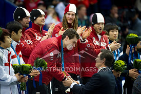 Feb 26, 2010: Pacific Coliseum, Vancouver, BC. Team Canada celebrates their Gold Medal in the Mens 5000m Relay in the Short T...