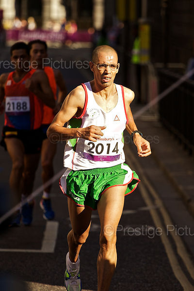 Nacer-Eddine Karfas ran for Algeria in the T12 Marathon at the London Paralympic Games