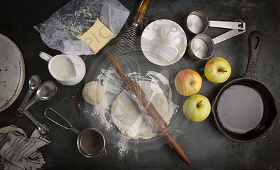 fresh dough with Ingredients for baking apple pie