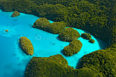 Aerial view of Milky Way Bay, Rock Islands, Palau, Micronesia. April 2009