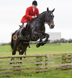 James Mossman jumping a hunt jump at Thorpe Satchville - Quorn Hunt Opening Meet 2016