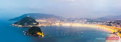 Panoramic cityscape at dusk, San Sebastian, Spain