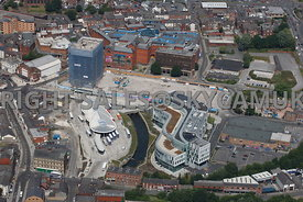 Rochdale aerial photograph of the regeneration and redevelopment of the Council offices and the new Transport Terminal for Bu...