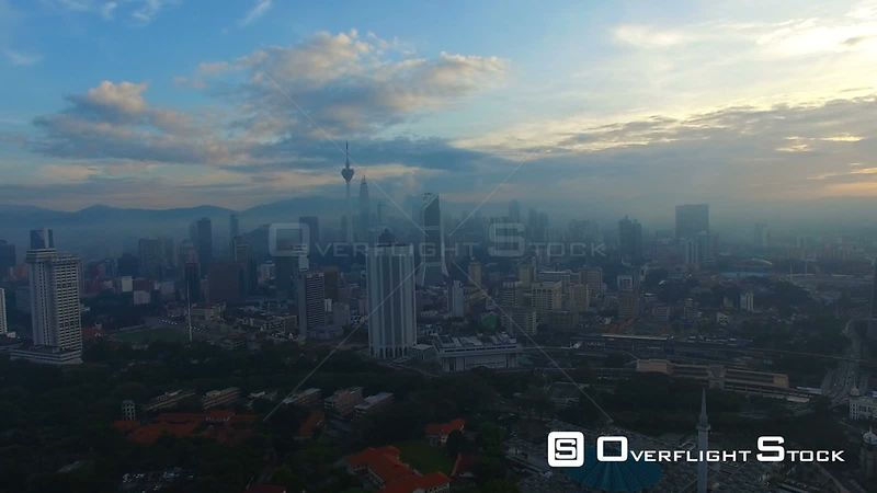 4k broll cinematic footage of drone flying above Kuala Lumpur, Malaysia city skyline.