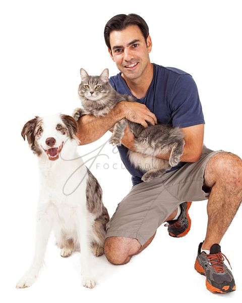 Handsome Man With Dog and Cat