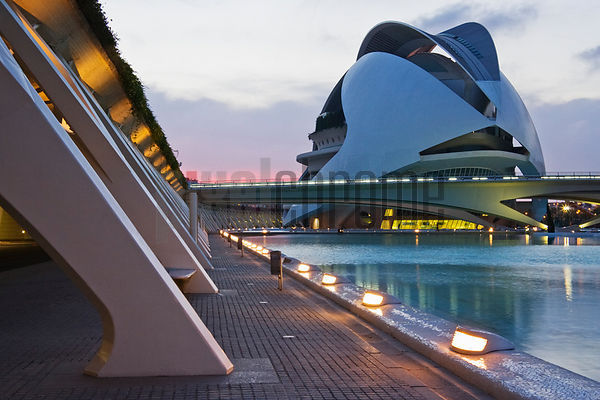 Queen Sofia Opera House City of Arts and Sciences in Valencia Spain at dusk Valencia Spain