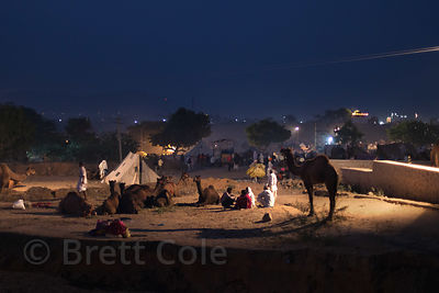 Nighttime scene at the Pushkar Camel Mela, Pushkar, Rajasthan, India.