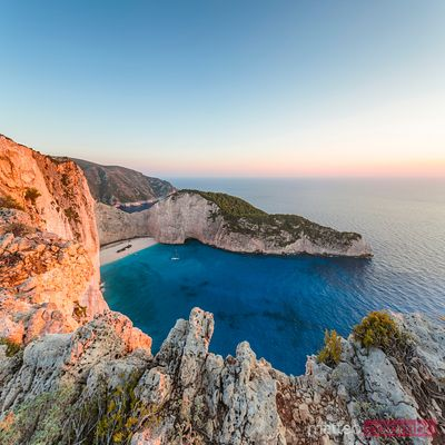 Awesome sunset on shipwreck beach and sea, Zakynthos, Greece