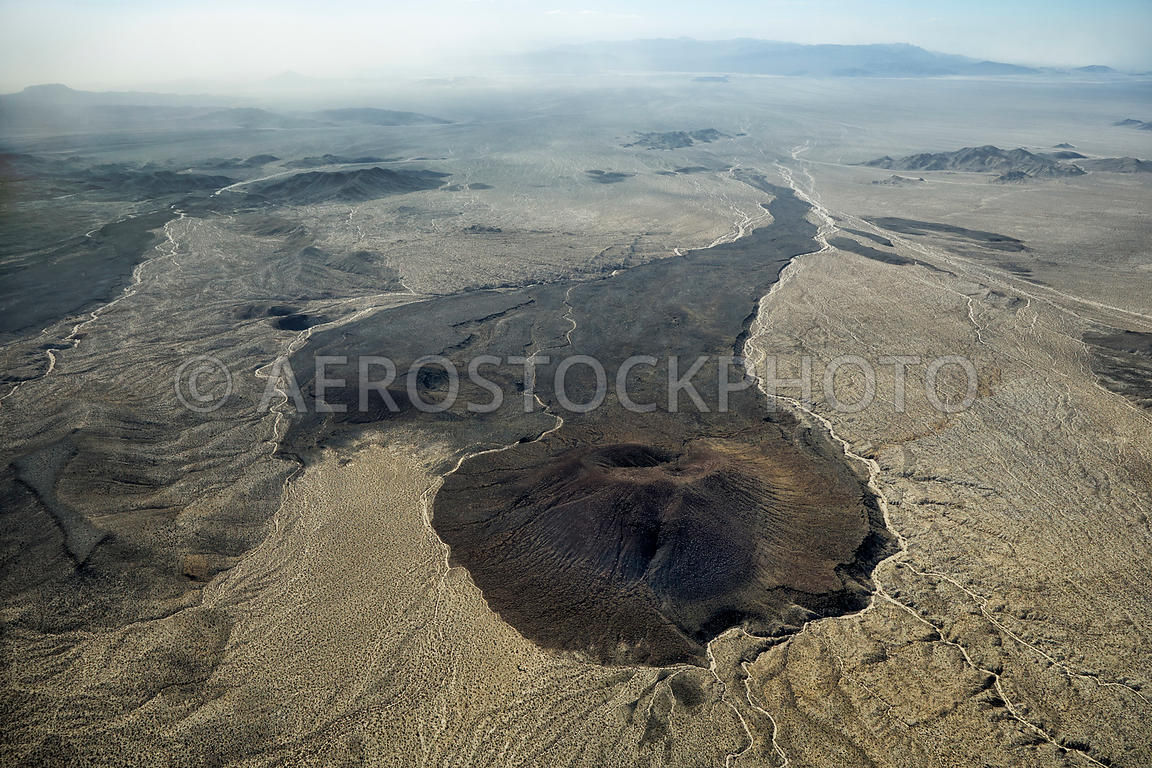 Cinder cone and Lava bed at Cinder Cone National Natural Landmark, Mojave desert,  San Bernardino County, California, USA.