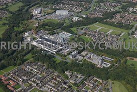 Skelmersdale high level aerial view of the Concourse Shopping centre  offices and West Lancashire college and Asda supermarket
