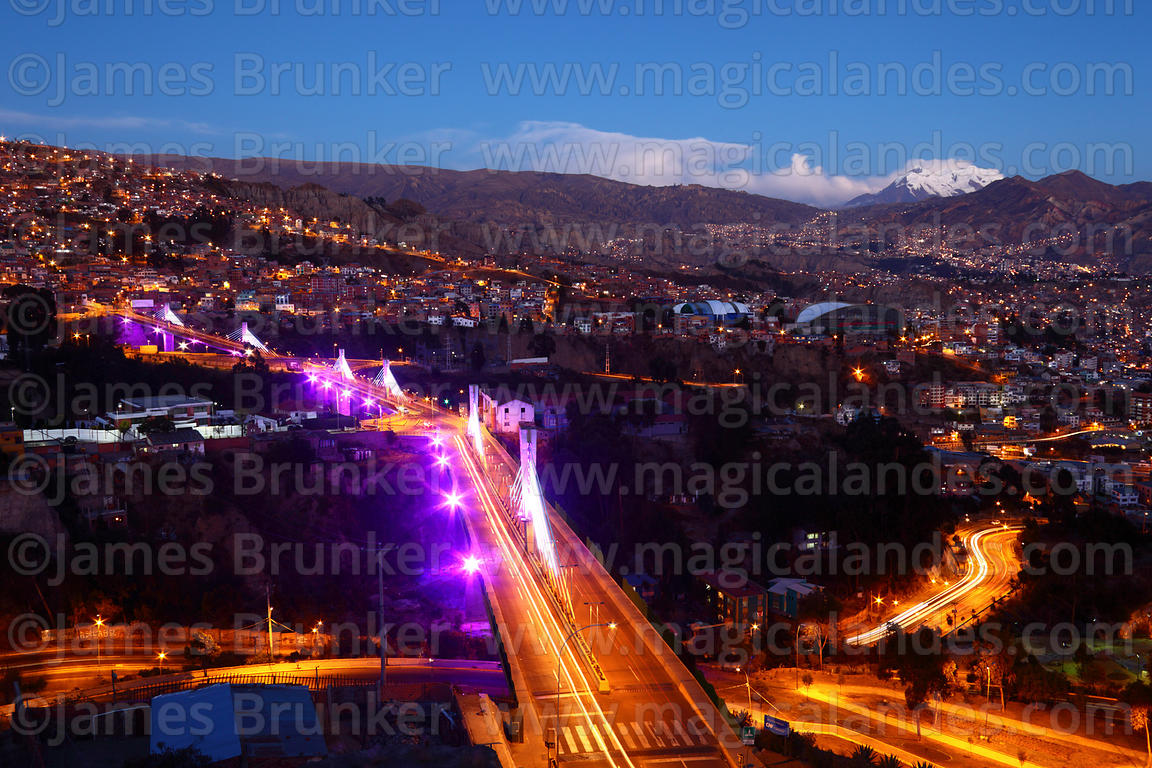 Illuminations on Triple Bridge / Puente de los Trillizos at sunset , La Paz , Bolivia