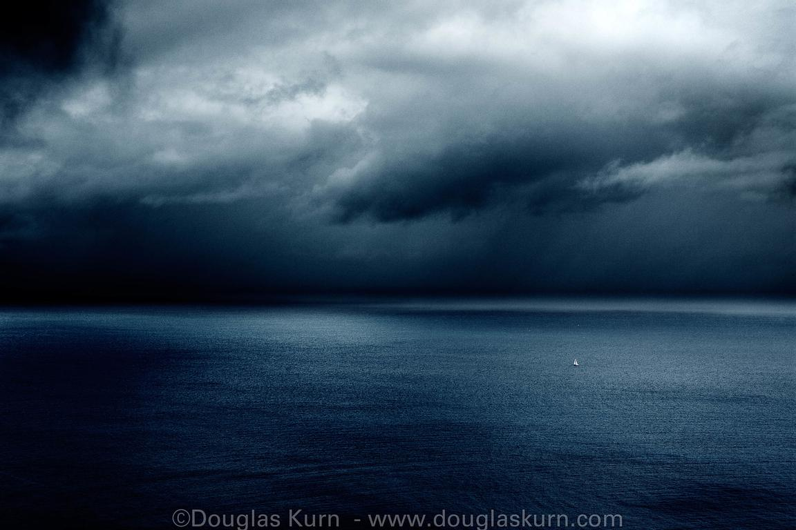 Limited edition Giclée fine art print of  a yacht in a storm