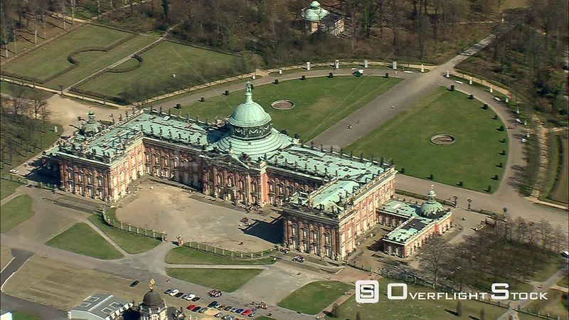 Flying past the New Palace in Potsdam's Sanssouci Park, near Berlin