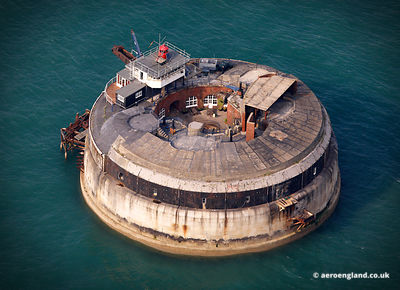 aerial photograph of Spitbank Fort in the Solent Hampshire England UK