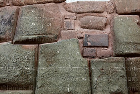 Numbers and lines on Inca stones to assist with restoration work, Cusco, Peru