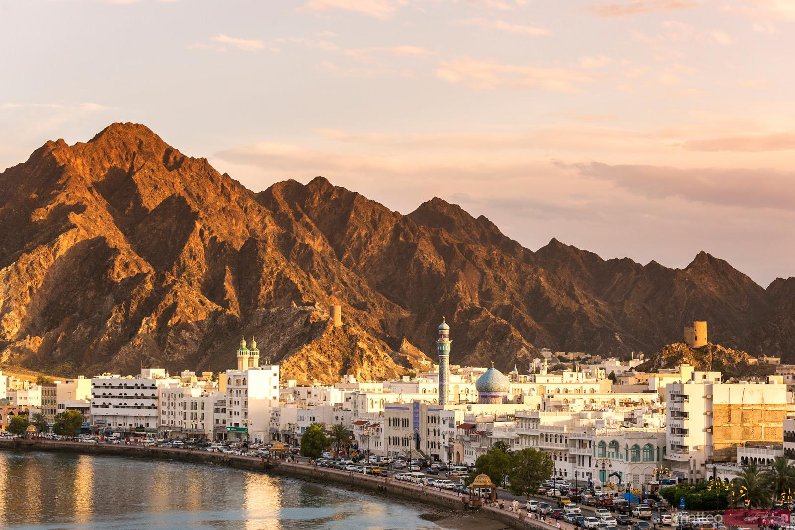 View of Muscat town at sunset, Oman