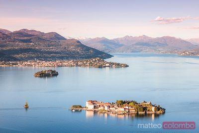 Sunset over Borromean islands, Lake Maggiore, Italy