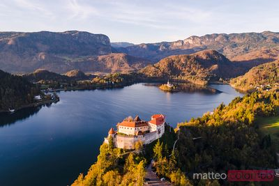 Aerial view of Bled castle and lake in autumn, Slovenia