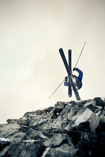Skier jumping a cliff at Sundance Ski Resort, Utah