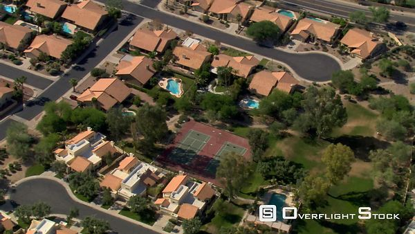 Orbiting suburban residential area in Phoenix.