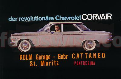 Chevrolet Corvair 1956 Collection of Glass Slides for Cinema Advertising by Kulm Garage