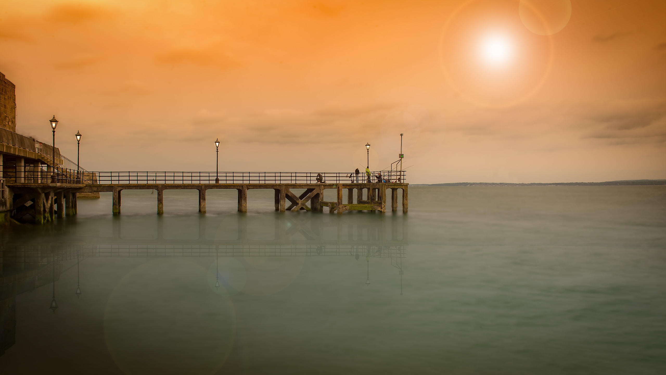 Powder Bridge pier at Sunset, in Portsmouth, England