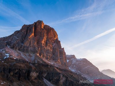 Mountain peak at sunrise, Dolomites, Italy